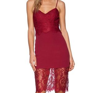 Lovers + Friends wine red lace dress cami sz S